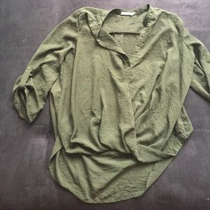 Olive Lush Blouse Button-Down with Twisted front